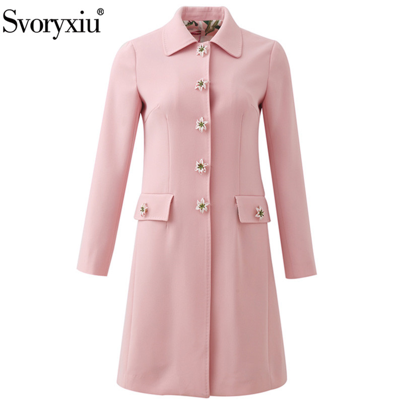 Svoryxiu Designer Autumn Winter Pink Long Trench Coat Women's Lily Flower Print Lining Custom Single Breasted Overcoat Outwear