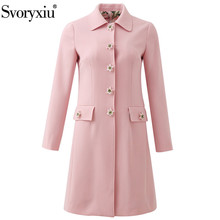 Svoryxiu Designer Autumn Winter Pink Long Trench Coat Women's lily Flower Print