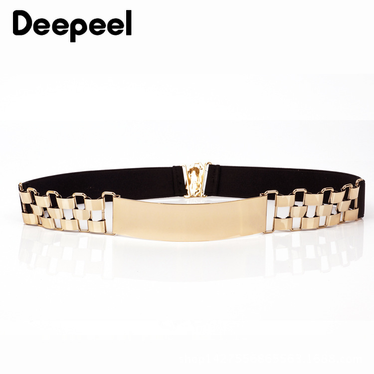 Deepeel 1pc 4cm*60-80cm Women's High Waist Metal Cummerbunds Women Elastic Corset Belt Watch Chain Decoration Gold Girdle YK725