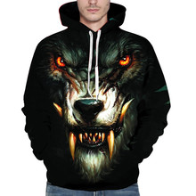 3D Printed Wolf Pullover Summer Autumn Unisex Casual Comfortable Long Sleeve Hooded Sweatshirt Tops  M0826