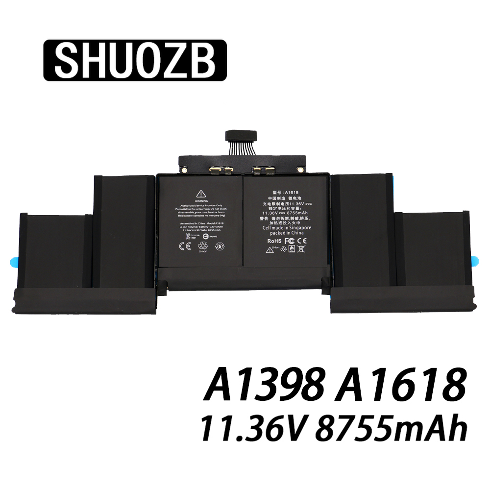 A1618 Laptop Battery for Apple Macbook Pro Retina 15'' 15.4 inch A1398 2015 year MJLQ2LL/A MJLT2LL/A New 11.36V 8755mAh SHUOZB image