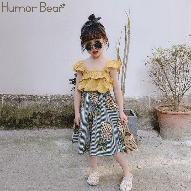 He9ba9cc2b483491992b5fe47501fab53b Humor Bear Girls Clothing Set 2020 Korean Summer New Ice Cream Bow T-shirt+Pants Kids Suit Toddler Baby Children's Clothes