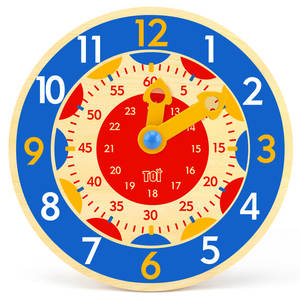 Wooden Clock Toys Teaching-Aids Montessori Second-Cognition Early-Preschool Minute Colorful