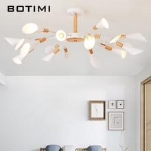 BOTIMI Designer G9 LED Chandelier For Living Room Modern White Lustre Wooden Bedroom Lighting Nordic Surface Mounted Chandeliers