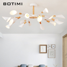 BOTIMI מעצב G9 LED נברשת לסלון מודרני לבן זוהר עץ חדר שינה תאורת נורדי משטח רכוב נברשות