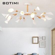 BOTIMI projektant G9 LED żyrandol do salonu nowoczesne białe Lustre drewniane oświetlenie sypialni Nordic montowane na powierzchni żyrandole