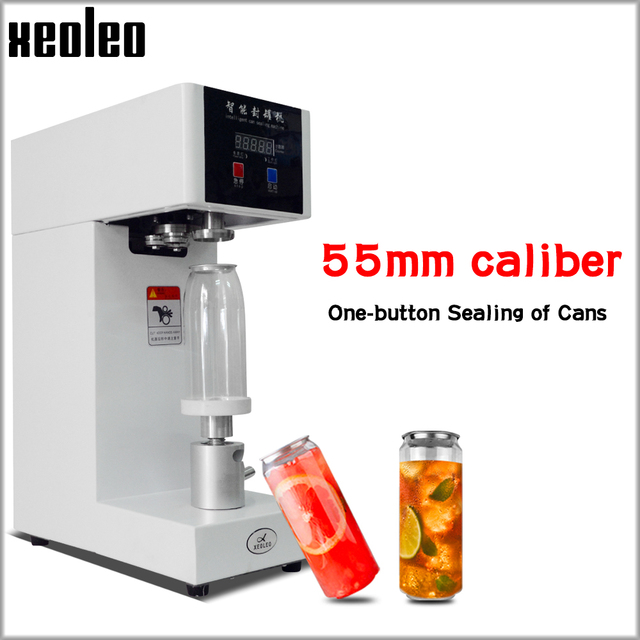 XEOLEO 55mm Cans sealer Drink bottle sealer Beverage seal machine for 330ml/500/650ml PET Milk tea/Coffee Can sealer 220V/110V