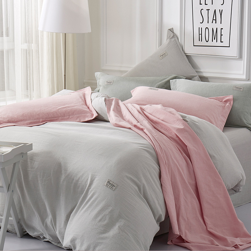 DOHIA All Pure Cotton Yarn Dyed Washed Cotton Anti-Linen Four-piece Set Free Cotton Series Bedding Article