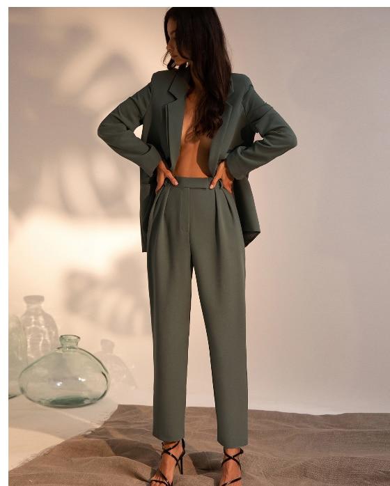 Cusomized Pants Suit Womens Business Suits 2 Pcs Set Formal Pant Suits Weddings Tuxedo Female Uniform Ladies Formal Suits Blazer