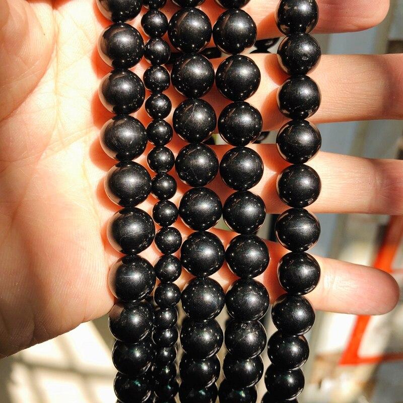 15 Strand Russian SHUNGITE 6mm Round Beads Natural