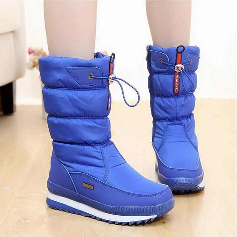 Kadın kar botları platformu kış çizmeler kalın peluş su geçirmez kaymaz çizmeler kadın kış ayakkabı botas mujer