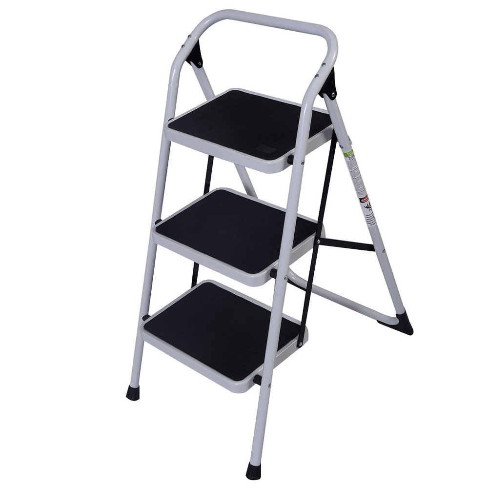 Home Use Folding 3-Step Short Handrail Iron Ladder Black Durable Solid Safe Step Ladder Portable Domestic Ladders