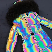 Outerwear Jumpsuit Snow-Suit Winter Jacket Down Overall Hooded Rainbow Girl Real-Fur
