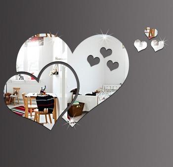 Kreatywny 3D kształt serca naklejki ścienne z efektem lustra wymienny lustra naklejka DIY wystrój salonu dekoracje domu dekoracje na ścianę tanie i dobre opinie Heart mirror-028 Z tworzywa sztucznego