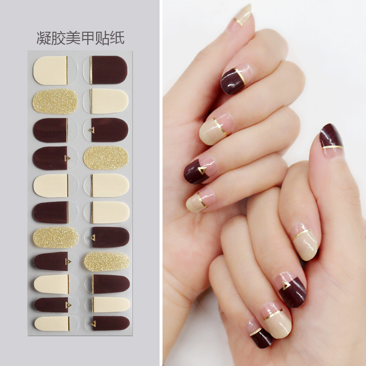 Joyme Nail Sticker Stick Completely Simple French Nail Decals Waterproof Long-lasting Wear-Resistant INS Fashion