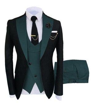 New Costume Slim Fit Men Suits Slim Fit Business Suits Groom Black Tuxedos for Formal Wedding Suits Jacket Pant Vest 3 Pieces 22