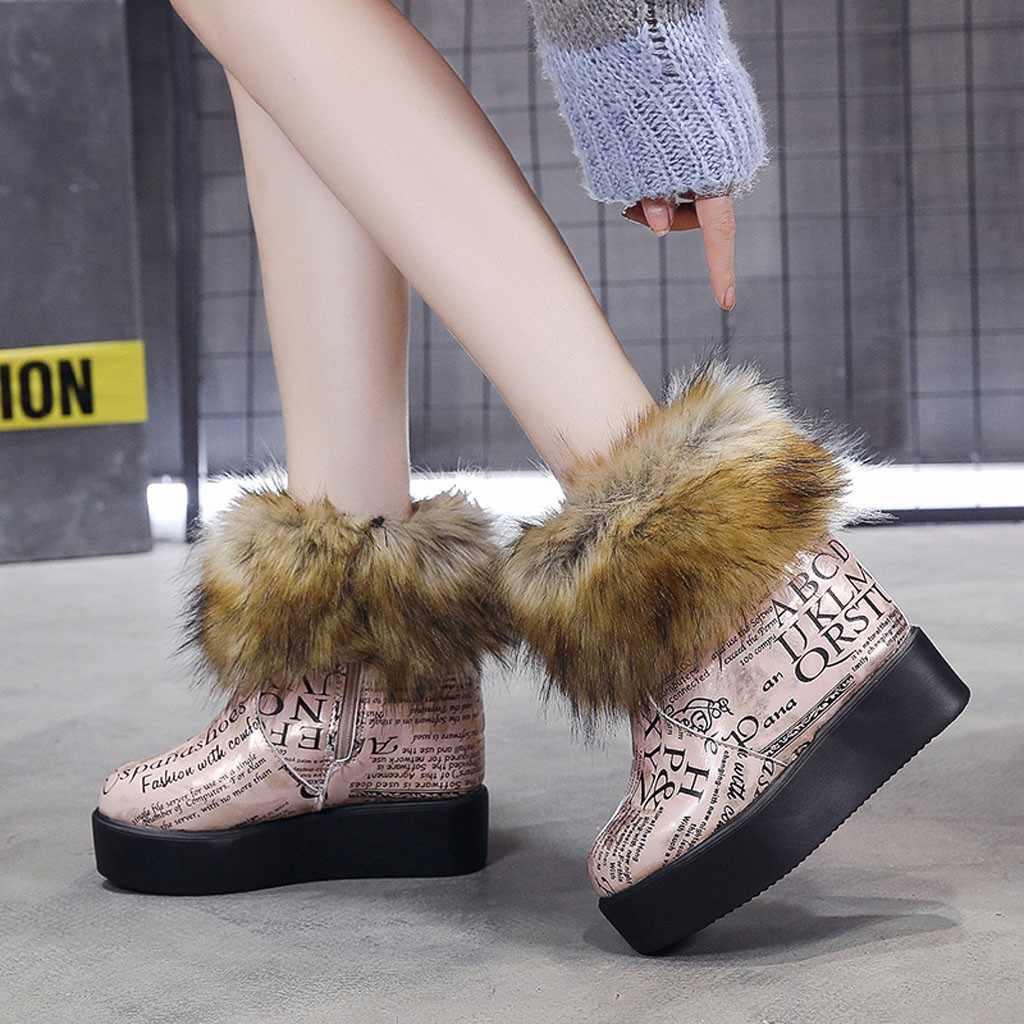Plataforma de pele botas de inverno moda feminina fundo grosso botas de neve de pelúcia quente mais veludo sapatos de algodão mulher outono inverno botas