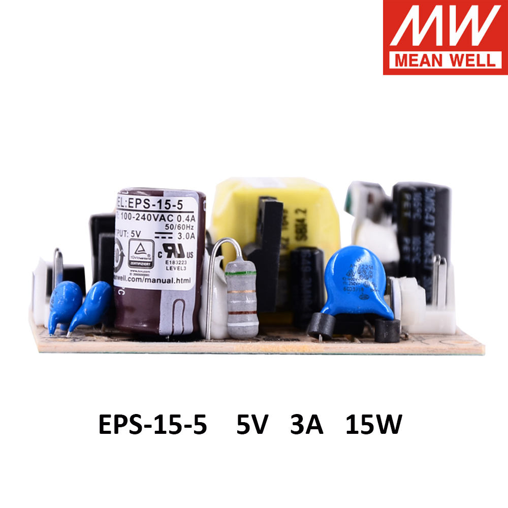 Meanwell EPS-15 single output PSU open frame <font><b>ac</b></font>-<font><b>dc</b></font> Power Supply 15W 3.3V 5V 7.5V 12V 15V 24V 27V 36V <font><b>48V</b></font> 1A 2A <font><b>3A</b></font> mini size image