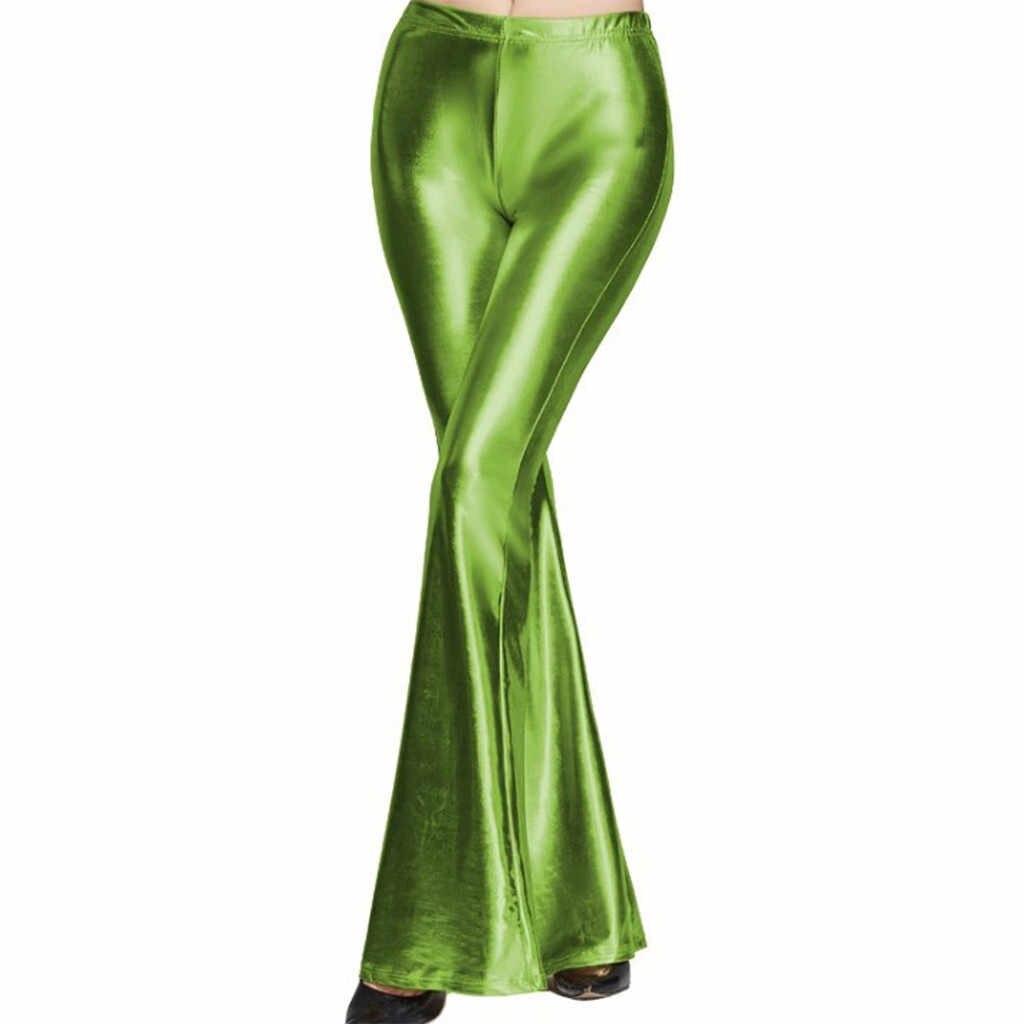 Glanzend Metallic Flared Broek Vrouwen Hoge Taille Bell bodem Broek Disco Broek Vrouwen Pantalones De Mujer Flare Broek Pantalon