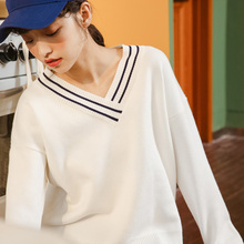 New V-Neck Sweater Young Women Autumn and Winter 2019 Casual Pullover Long-Sleeve Short Loose Knit Sweater Tops 2019 new elegant fashion warm autumn winter women cardigan long bat sleeve sweater short korean v neck knit cashmere loose tops