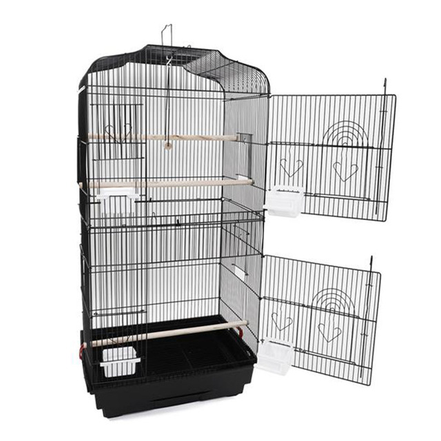"""37"""" Bird Parrot Cage Canary Parakeet Cockatiel LoveBird Finch Bird Cage with Wood Perches & Food Cups Black"""