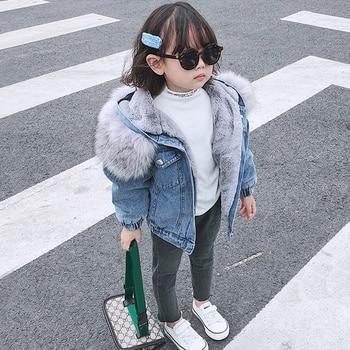 Girl's Eco Fur Hood Denim Coat 4