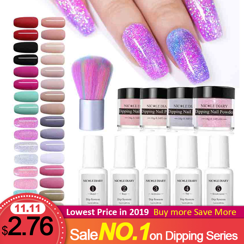 NICOLE DIARY 9/6/4/3Pcs Dip Nail Powder Set Art Dipping Nails Glitter  Matte Holo Dust With Base Top Activator Brush