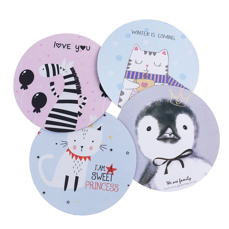1pcs Cartoon Animal Pattern Mouse Pad 20 * 3cm Round Rubber Mouse Pad Office Home Computer Non-slip Desk Pad