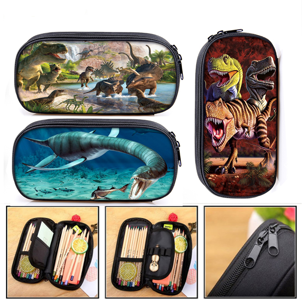 Dinosaur Print Cosmetic Cases Pencil Box Boys Girls T. Rex Pencil Box Children School Case Stationary Bag Gift