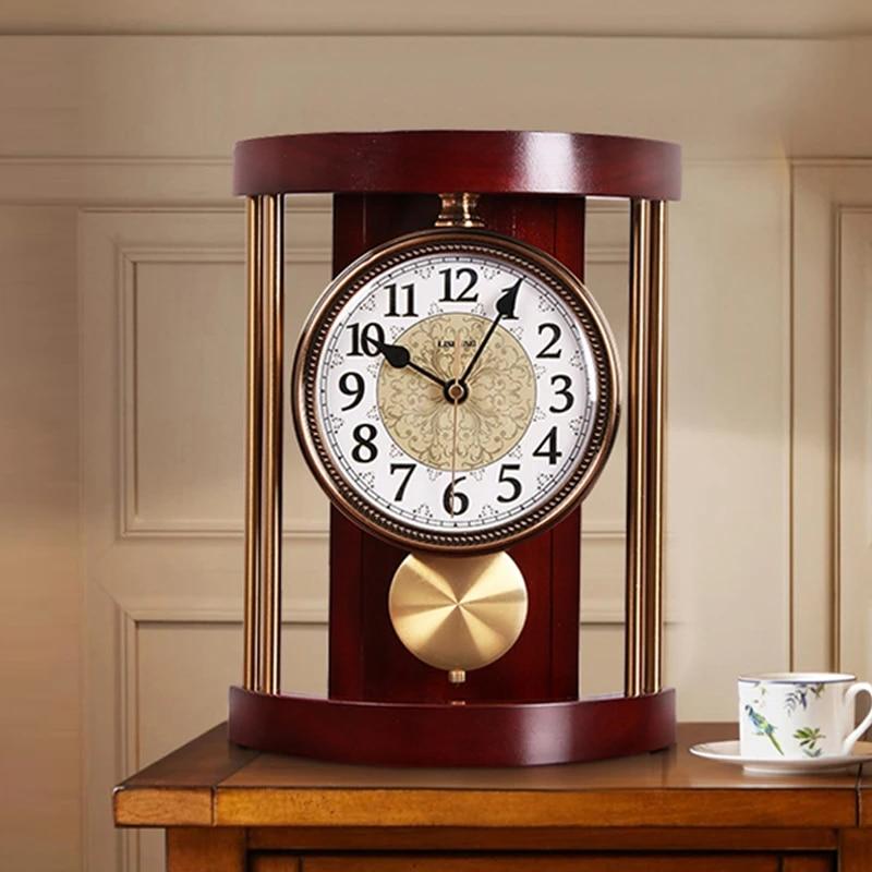 European Retro Table Clock Living Room Office Mute Desktop Pendulum Desk Clock Bedroom Table Watch Simple Quartz Wall Clock Gift Desk Table Clocks Aliexpress