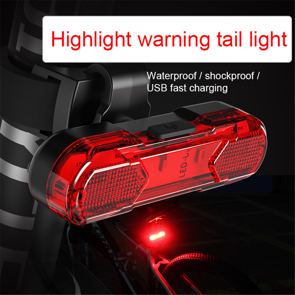 Bicycle Taillight Waterproof Bicycle Rear Warning Light USB Rechargable LED Bike Light Flash Cycling Safety Light Accessories