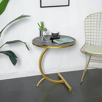 Folding Iron Coffee Table Bedroom Living Room Sofa End Side MDF Marble Texture Round Table Nordic Small Side Table solid wood coffee table round small table simple sofa side table nordic side table