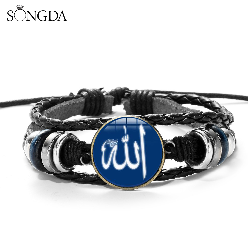 SONGDA Arabic Muslim Islamic God Allah Bracelet Solid Color Allah Symbol 3D Print Glass Gem Braided Wristband Religious Jewelry