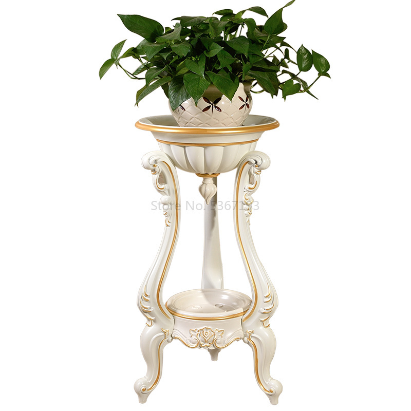 Indoor Living Room Flower Stand Ground Multi-layer Plastic Flower Pot Shelf Simple Balcony Floor Hanging Orchid Stand European