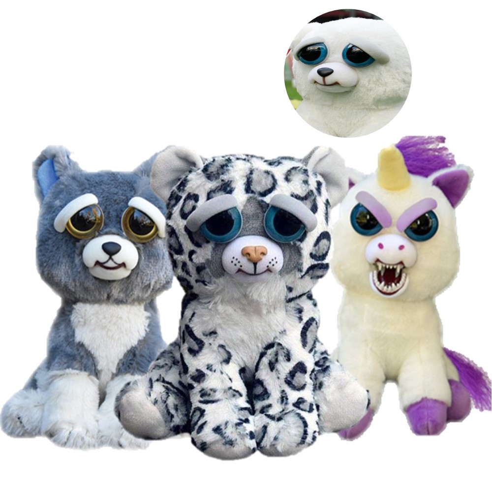 Feisty Pets Funny Face Changing Soft Toys For Children Snow Leopard Stuffed Plush Unicorn Angry Animal Dog Doll  Bear Panda