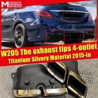 W205 auspuff tipps Titan Silber Material Fit Für MercedesMB C Klasse W205 Sport Die auspuff tipps 4 outlet c180 C200 C300 15 in-in Stoßstangen aus Kraftfahrzeuge und Motorräder bei