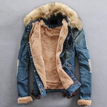 S-4XL Men Jacket Winter Coats New Brand Clothing Fur Collar Denim Jacket Fashion Slim Mens Jeans Thick Warm Outwear Male Cowboy(China)