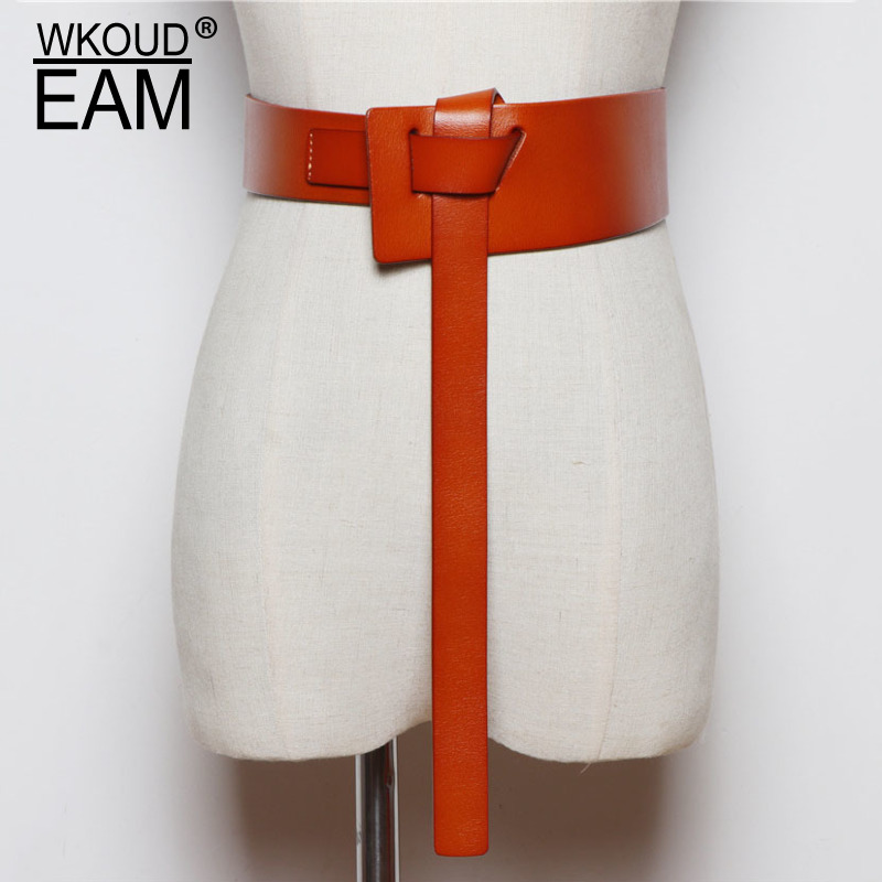 WKOUD EAM 2020 New Genuine Leather Belt Female Take Away Simple Wild Waistband Temperament Wedding Dress Shiny Belt Lady PE075