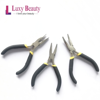 Metal Steel Pliers Hair Plier for Hair Extension Tools Pliers Tip Hair Loop Hair Flat Needles Cold fusion DIY pliers and pulling needle hair extensions pliers professional hair extension tools free shipping