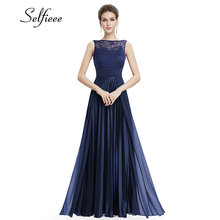 Lace Dress Women 2019 Sexy Navy Blue A-line Sleeveless Round Neck Prom Long Elegant Plus Size Dress For Party Vestidos De Fiesta chic plus size round neck asymmetric slit sleeveless dress for women