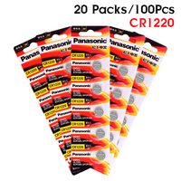 PANASONIC 100Pcs 3V Lithium Battery Button Coin Cell CR1220 ECR1220 DL1220 LM1220 KL1220 Suitable Supports Watch Calculator