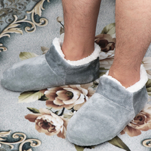 House Slippers Socks Floor-Shoes Plush Warm Soft Male Big-Size 48 Winter for Men Suede