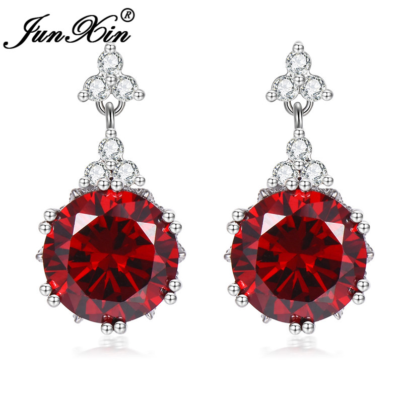 Vintage Party Female Red Stone Stud Earrings For Women White Gold Round Short Earrings Crystal Bridal Wedding Jewelry CZ