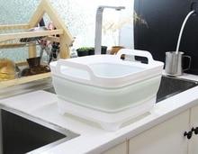 Square Fruit Vegetable Washing Washbasin Kitchen Product Supply Folding Sink Drain basket Travel Outdoor Camp Portable Basins