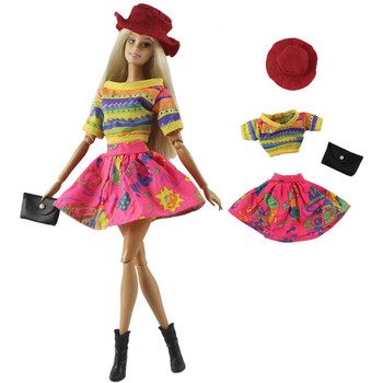 Colorful Spring Outfit Dress Set for Barbie 1/6 30cm BJD FR Doll Clothes Accessories Play House Dressing Up Toys Gift fur coat dress outfit set for barbie 1 6 bjd sd doll clothes accessories play house dressing up costume