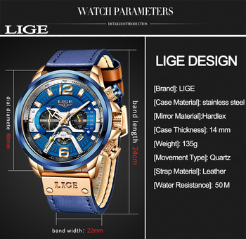 2021 LIGE Casual Sports Watch for Men Top Brand Luxury Military Leather Wrist Watches Mens Clocks Fashion Chronograph Wristwatch 3