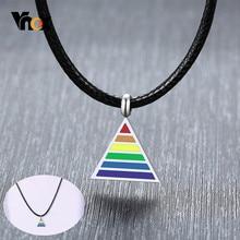 Vnox-collares de colgantes triangulares para hombres y mujeres, cadena de cuerda negra de 24 pulgadas, color arcoíris, LGBT, orgullo Gay