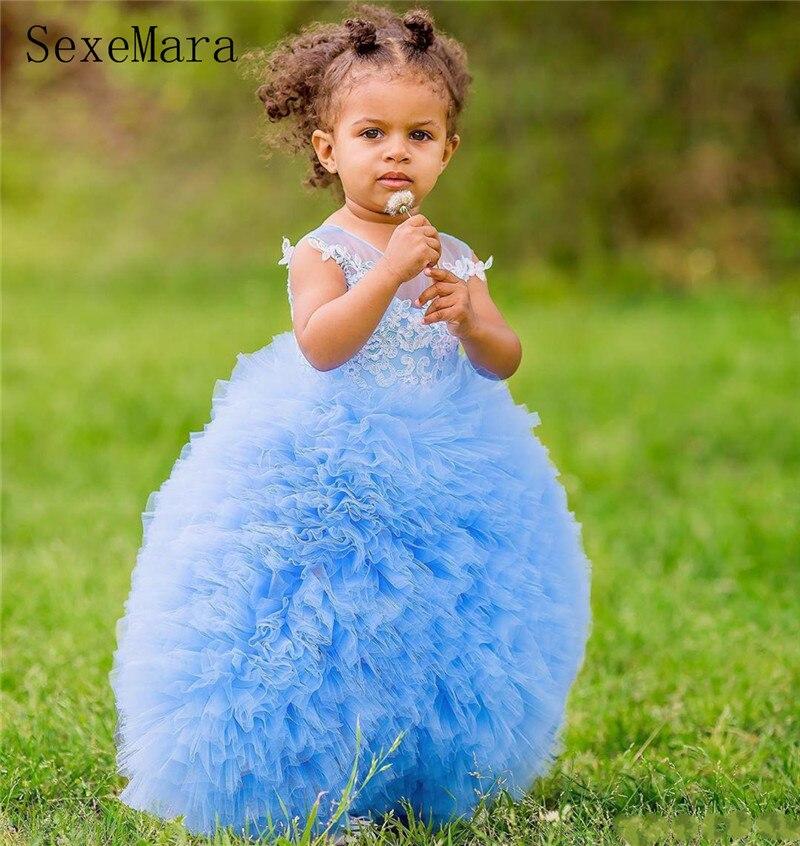 Bleu ciel bébé filles vêtements gonflé Organza blanc dentelle robe de bal infantile enfant en bas âge robe de fête d'anniversaire