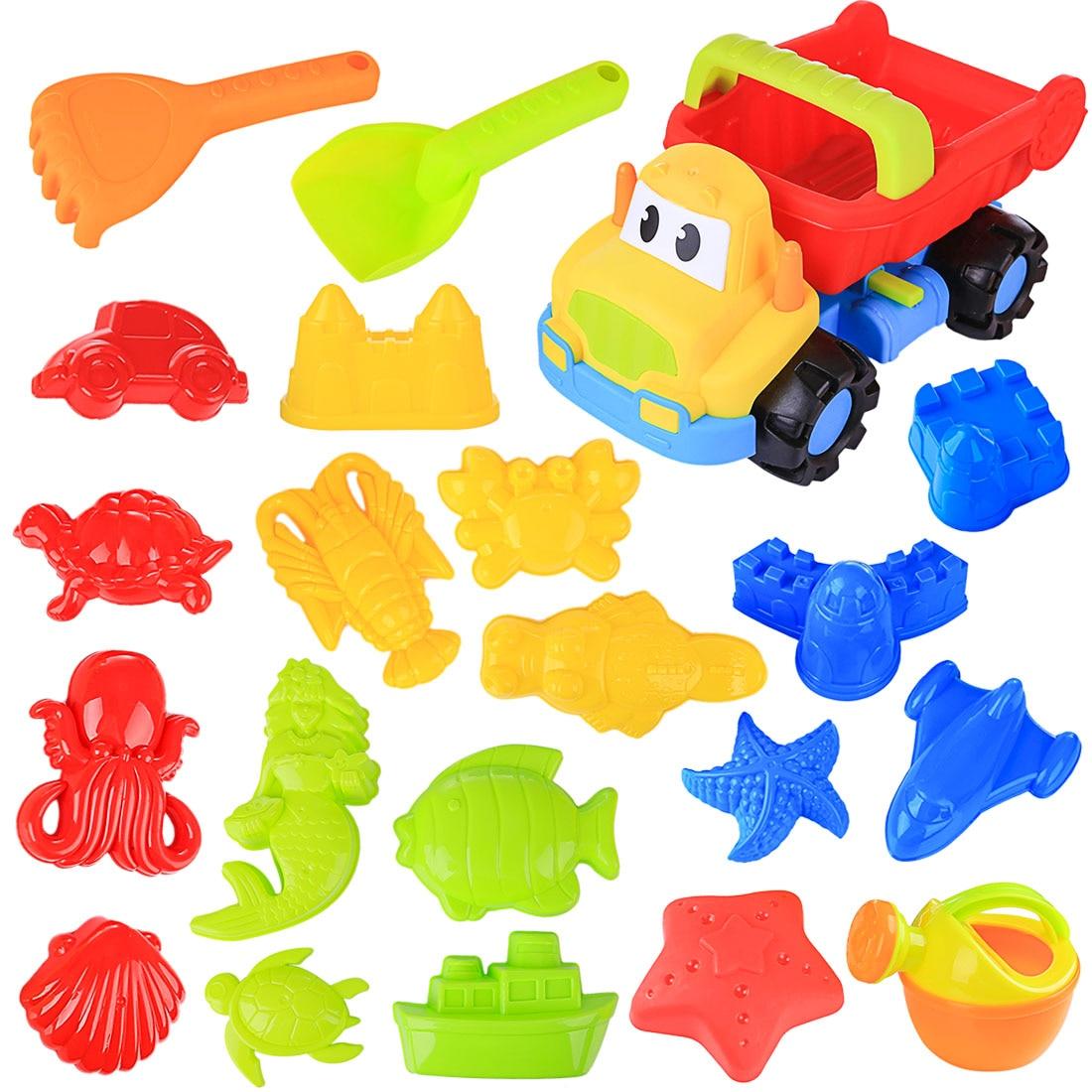 Hot Kids 21Pcs/set Large Size Beach Sand Toys Plastic Beach Car Vehicle Summer Outdoor Playset Drop Ship 2020