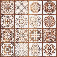 16Pcs Painting Drawing Stencils Mandala Template for Stones Floor Wall Tile Fabric Wood Burning Art&Craft Supplies -Reuseable(China)